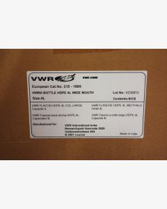 VWR Bottles, HDPE, wide mouth with screw cap (4 Litre)